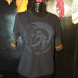 DIESEL black t-shirt With knit sleeves size small